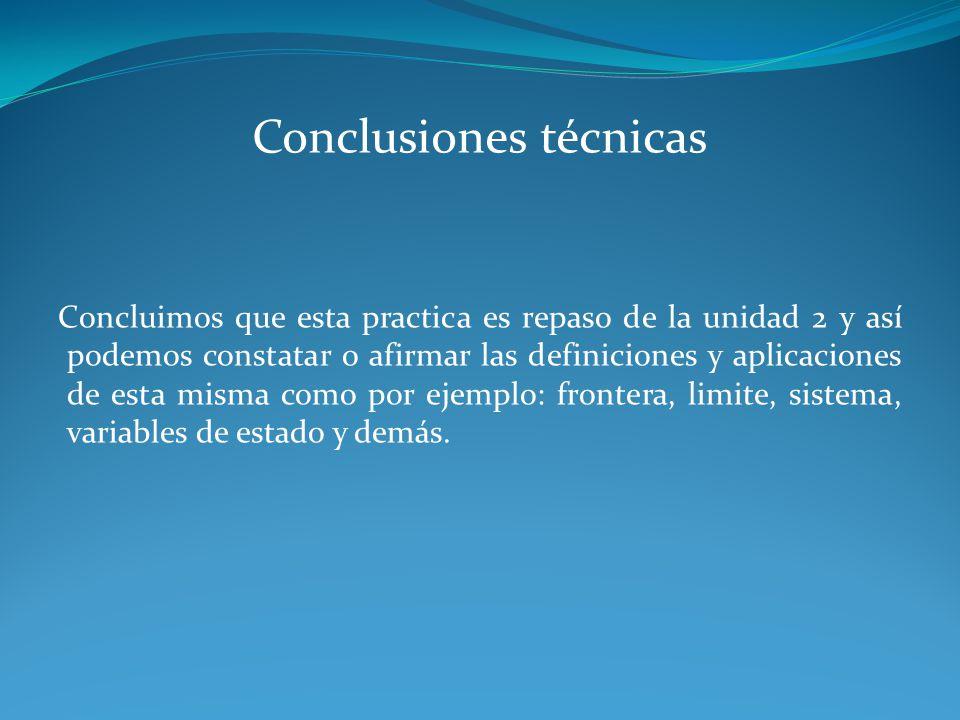 Conclusiones técnicas Concluimos que esta practica es repaso de la unidad 2 y así podemos constatar o afirmar las definiciones y aplicaciones de esta