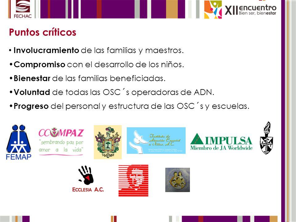 Puntos críticos Involucramiento de las familias y maestros. Compromiso con el desarrollo de los niños. Bienestar de las familias beneficiadas. Volunta