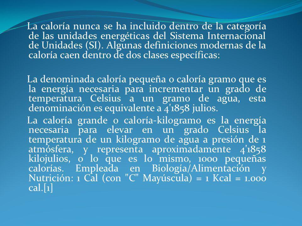 La caloría nunca se ha incluido dentro de la categoría de las unidades energéticas del Sistema Internacional de Unidades (SI). Algunas definiciones mo