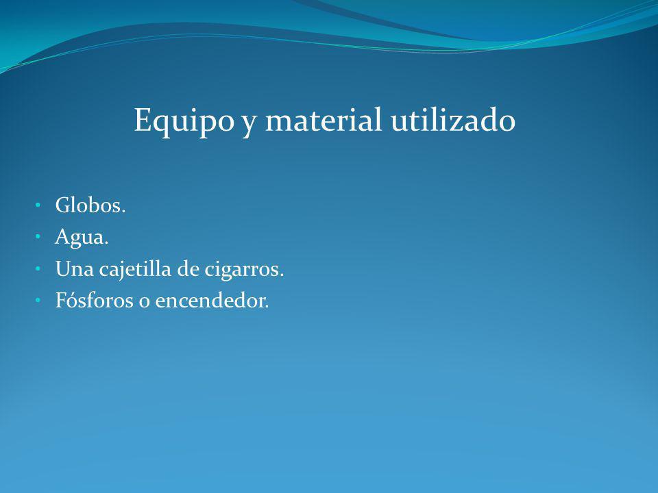 Equipo y material utilizado Globos. Agua. Una cajetilla de cigarros. Fósforos o encendedor.