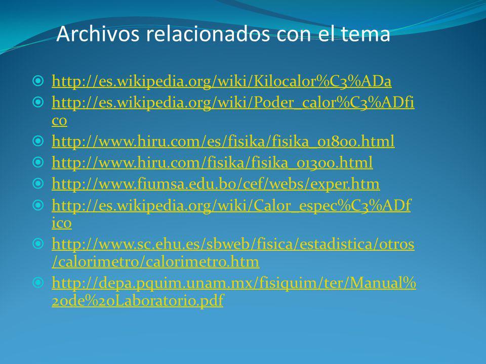 Archivos relacionados con el tema http://es.wikipedia.org/wiki/Kilocalor%C3%ADa http://es.wikipedia.org/wiki/Poder_calor%C3%ADfi co http://es.wikipedi