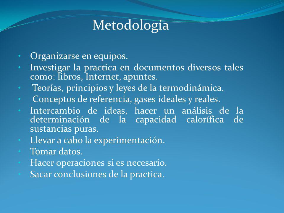 Metodología Organizarse en equipos. Investigar la practica en documentos diversos tales como: libros, Internet, apuntes. Teorías, principios y leyes d