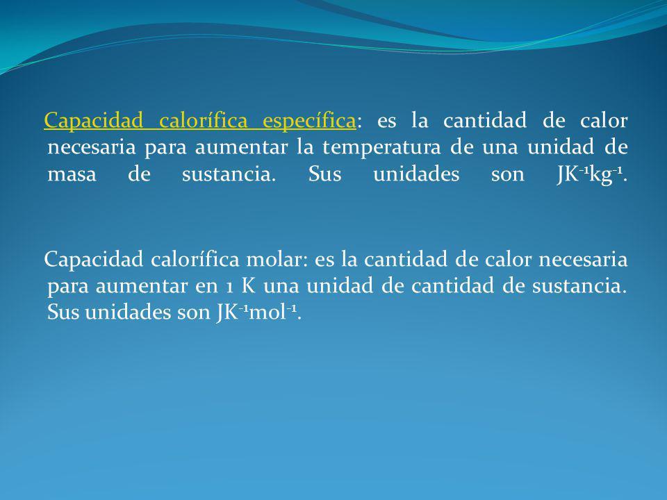Capacidad calorífica específicaCapacidad calorífica específica: es la cantidad de calor necesaria para aumentar la temperatura de una unidad de masa d