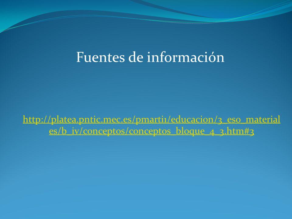 Fuentes de información http://platea.pntic.mec.es/pmarti1/educacion/3_eso_material es/b_iv/conceptos/conceptos_bloque_4_3.htm#3