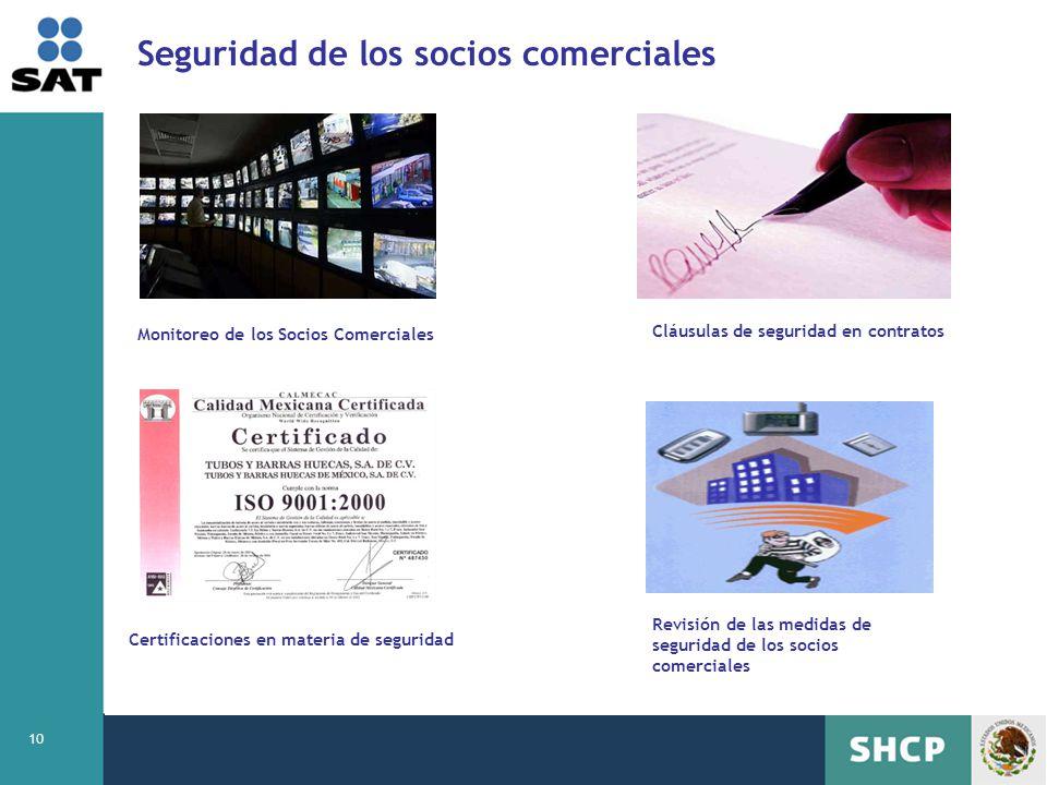 10 Seguridad de los socios comerciales Monitoreo de los Socios Comerciales Cláusulas de seguridad en contratos Certificaciones en materia de seguridad