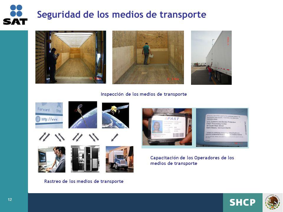 12 Seguridad de los medios de transporte Inspección de los medios de transporte Rastreo de los medios de transporte Capacitación de los Operadores de