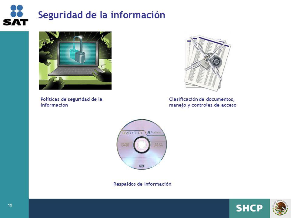 13 Seguridad de la información Políticas de seguridad de la información Clasificación de documentos, manejo y controles de acceso Respaldos de Informa