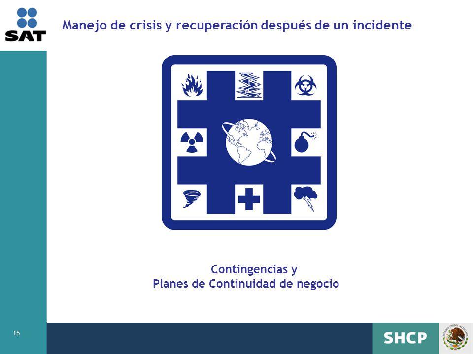 15 Manejo de crisis y recuperación después de un incidente Contingencias y Planes de Continuidad de negocio