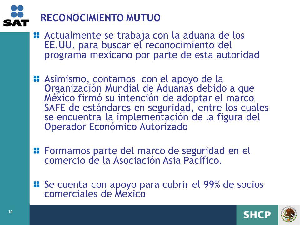 18 RECONOCIMIENTO MUTUO Actualmente se trabaja con la aduana de los EE.UU. para buscar el reconocimiento del programa mexicano por parte de esta autor