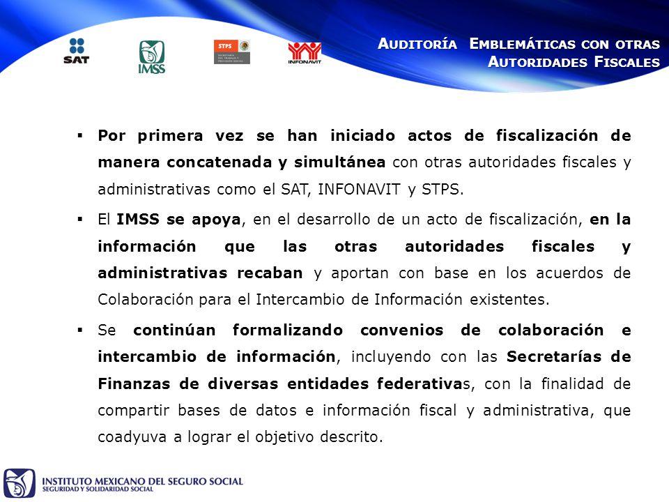 Por primera vez se han iniciado actos de fiscalización de manera concatenada y simultánea con otras autoridades fiscales y administrativas como el SAT, INFONAVIT y STPS.