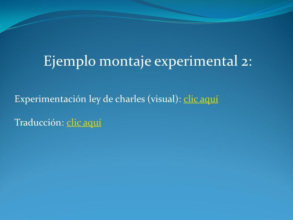 Ejemplo montaje experimental 2: Experimentación ley de charles (visual): clic aquíclic aquí Traducción: clic aquíclic aquí