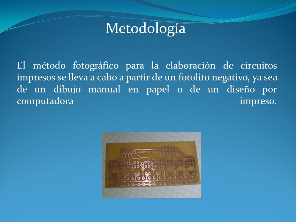 Metodología El método fotográfico para la elaboración de circuitos impresos se lleva a cabo a partir de un fotolito negativo, ya sea de un dibujo manu