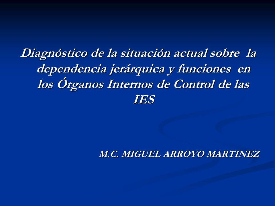 Diagnóstico de la situación actual sobre la dependencia jerárquica y funciones en los Órganos Internos de Control de las IES M.C. MIGUEL ARROYO MARTIN