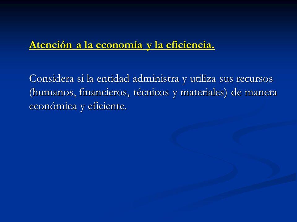 Atención a la economía y la eficiencia. Considera si la entidad administra y utiliza sus recursos (humanos, financieros, técnicos y materiales) de man