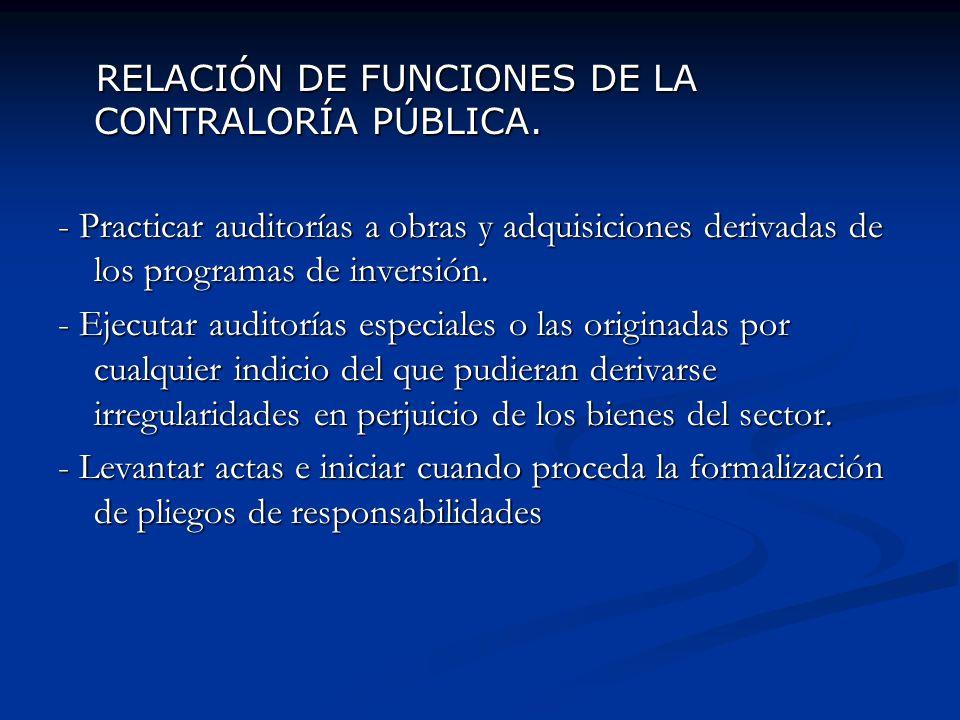 RELACIÓN DE FUNCIONES DE LA CONTRALORÍA PÚBLICA. RELACIÓN DE FUNCIONES DE LA CONTRALORÍA PÚBLICA. - Practicar auditorías a obras y adquisiciones deriv