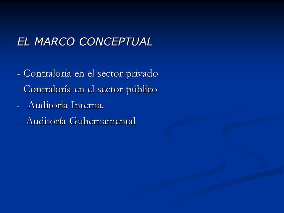 EL MARCO CONCEPTUAL - Contraloría en el sector privado - Contraloría en el sector público - Auditoría Interna. - Auditoría Gubernamental