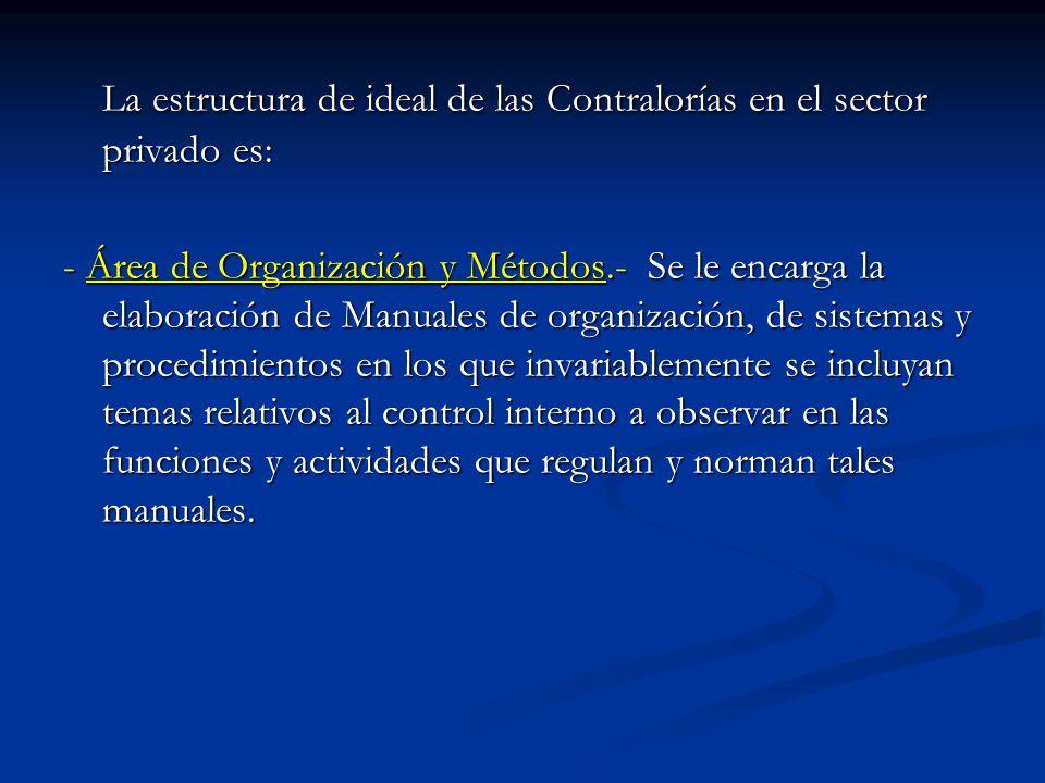 La estructura de ideal de las Contralorías en el sector privado es: - Área de Organización y Métodos.- Se le encarga la elaboración de Manuales de org