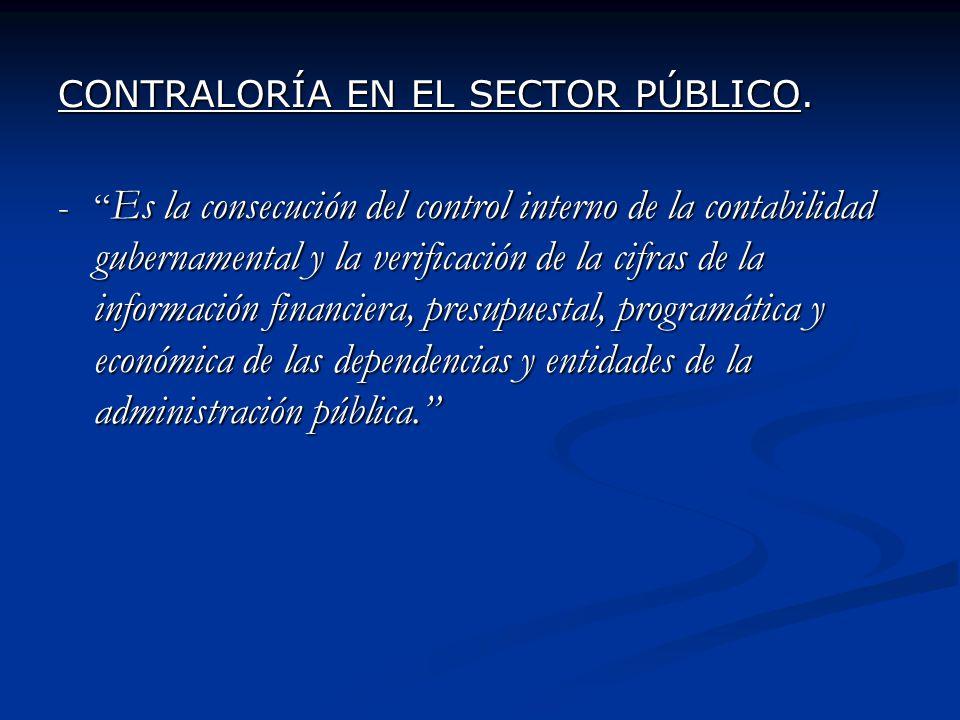 CONTRALORÍA EN EL SECTOR PÚBLICO. - Es la consecución del control interno de la contabilidad gubernamental y la verificación de la cifras de la inform