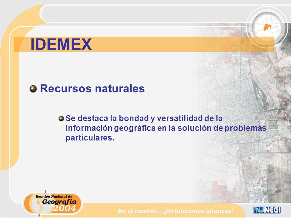 Recursos naturales Se destaca la bondad y versatilidad de la información geográfica en la solución de problemas particulares.