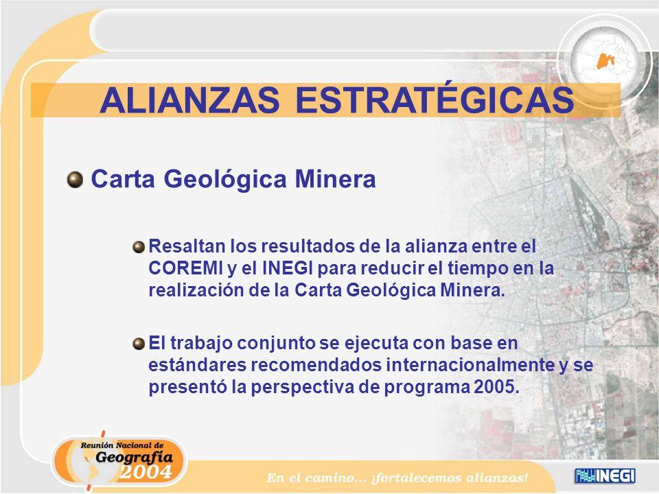 Carta Geológica Minera Resaltan los resultados de la alianza entre el COREMI y el INEGI para reducir el tiempo en la realización de la Carta Geológica Minera.