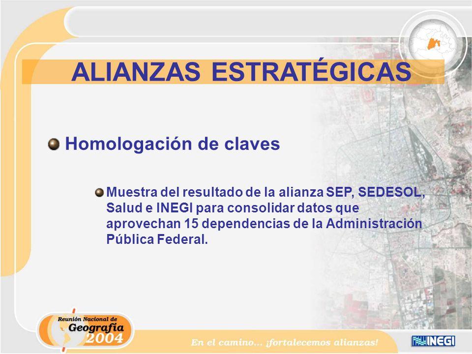 Homologación de claves Muestra del resultado de la alianza SEP, SEDESOL, Salud e INEGI para consolidar datos que aprovechan 15 dependencias de la Administración Pública Federal.