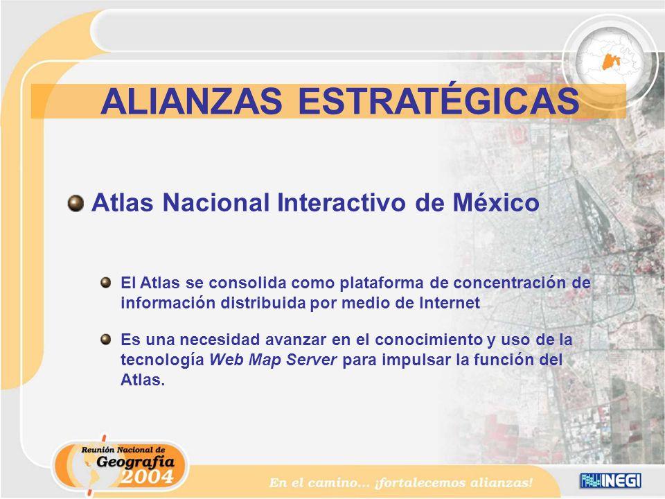 Atlas Nacional Interactivo de México El Atlas se consolida como plataforma de concentración de información distribuida por medio de Internet Es una necesidad avanzar en el conocimiento y uso de la tecnología Web Map Server para impulsar la función del Atlas.
