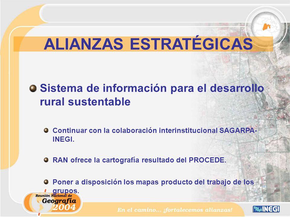 Sistema de información para el desarrollo rural sustentable Continuar con la colaboración interinstitucional SAGARPA- INEGI.