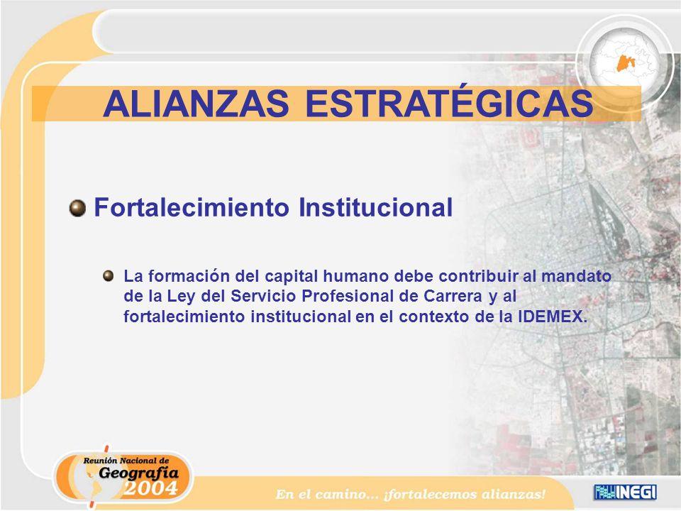 Fortalecimiento Institucional La formación del capital humano debe contribuir al mandato de la Ley del Servicio Profesional de Carrera y al fortalecimiento institucional en el contexto de la IDEMEX.