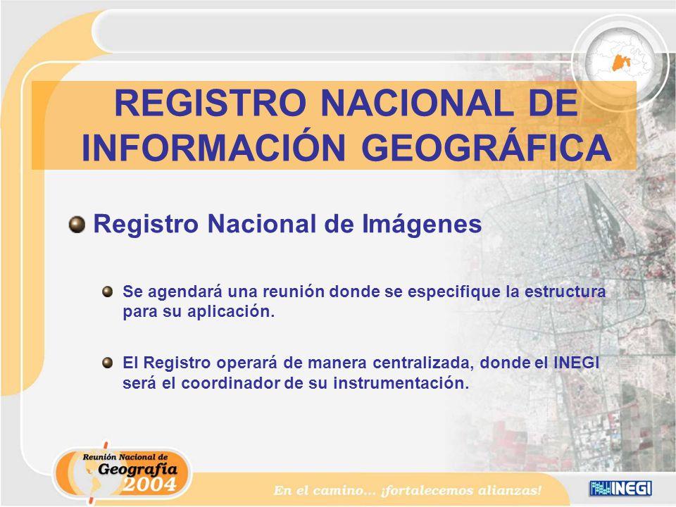 Registro Nacional de Imágenes Se agendará una reunión donde se especifique la estructura para su aplicación.