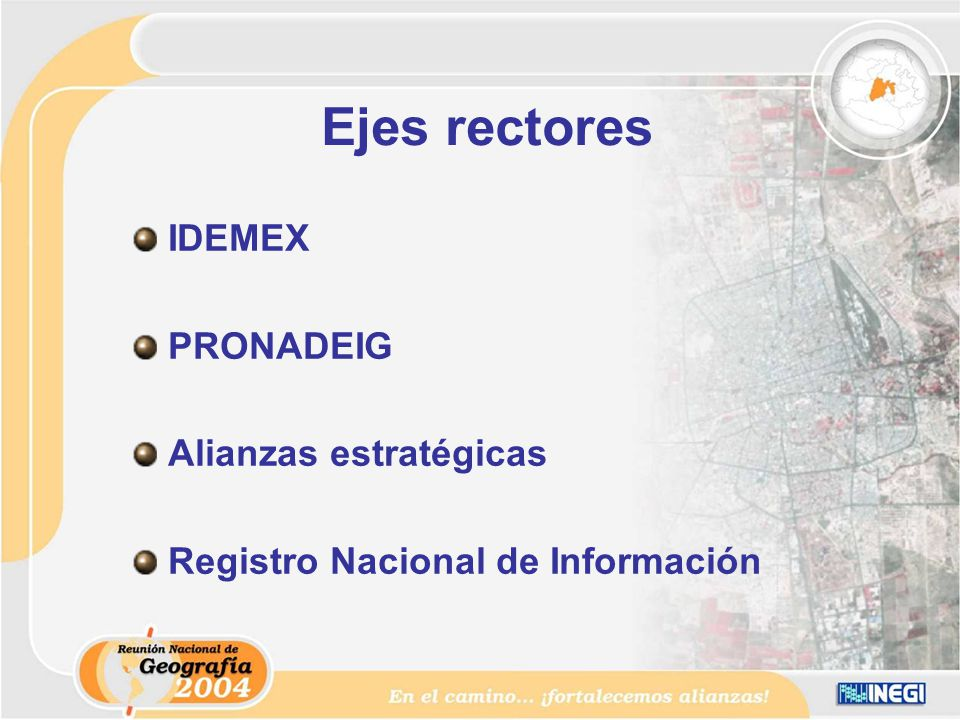 Ejes rectores IDEMEX PRONADEIG Alianzas estratégicas Registro Nacional de Información