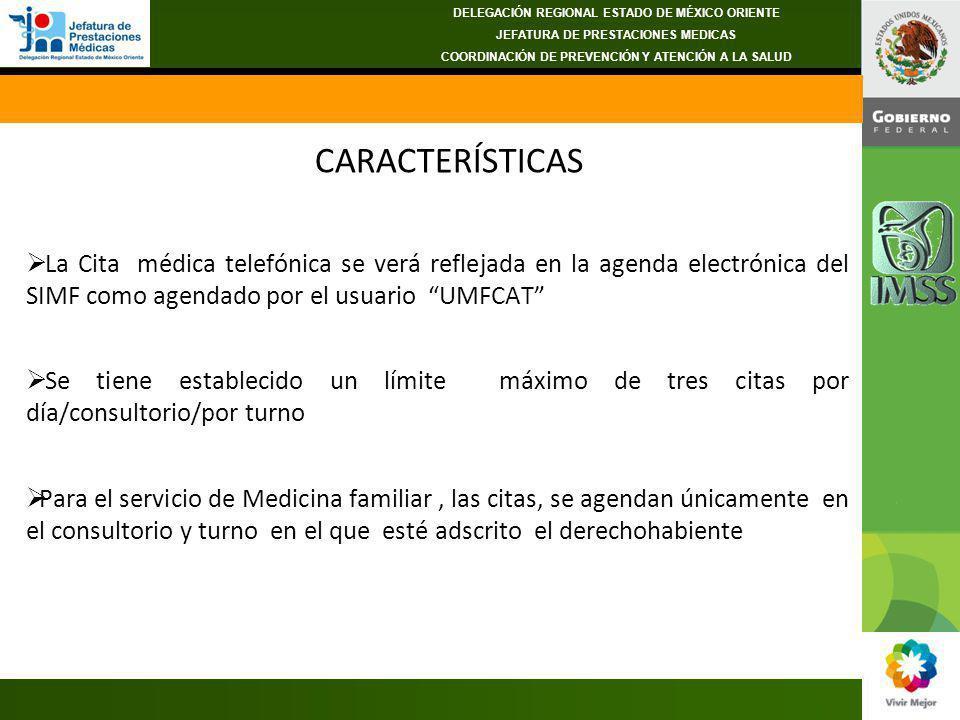 CARACTERÍSTICAS La Cita médica telefónica se verá reflejada en la agenda electrónica del SIMF como agendado por el usuario UMFCAT Se tiene establecido