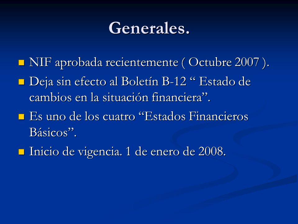 Generales. NIF aprobada recientemente ( Octubre 2007 ). NIF aprobada recientemente ( Octubre 2007 ). Deja sin efecto al Boletín B-12 Estado de cambios