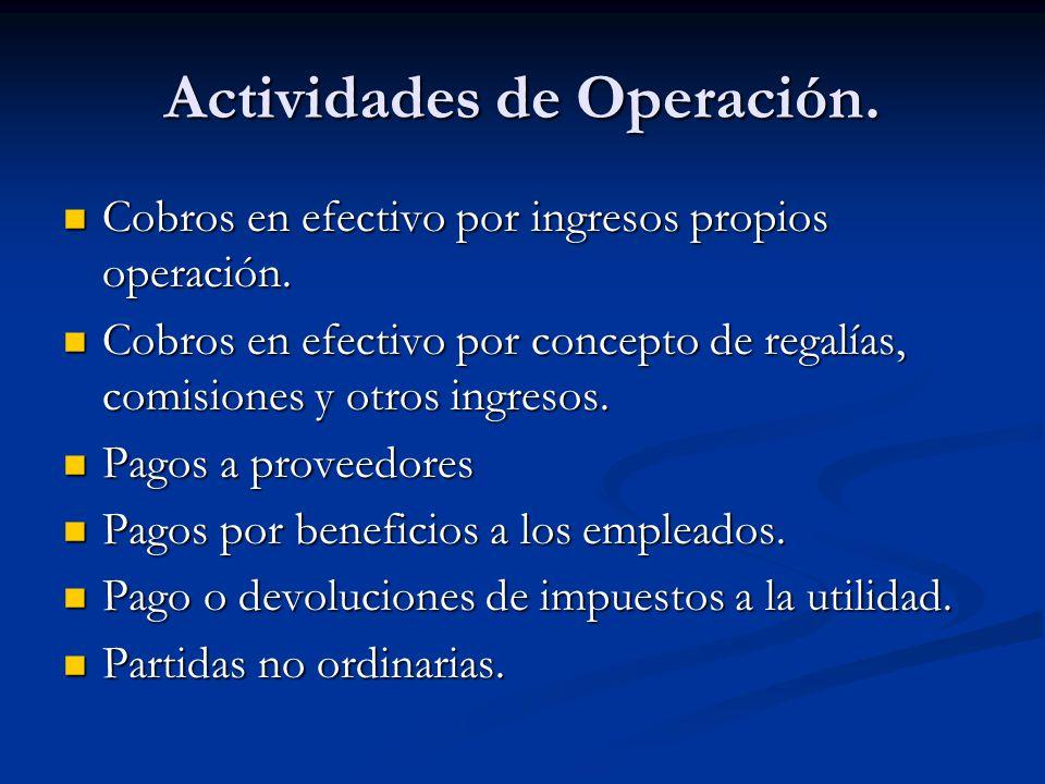Actividades de Operación. Cobros en efectivo por ingresos propios operación. Cobros en efectivo por ingresos propios operación. Cobros en efectivo por