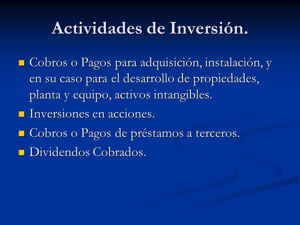 Actividades de Inversión. Cobros o Pagos para adquisición, instalación, y en su caso para el desarrollo de propiedades, planta y equipo, activos intan