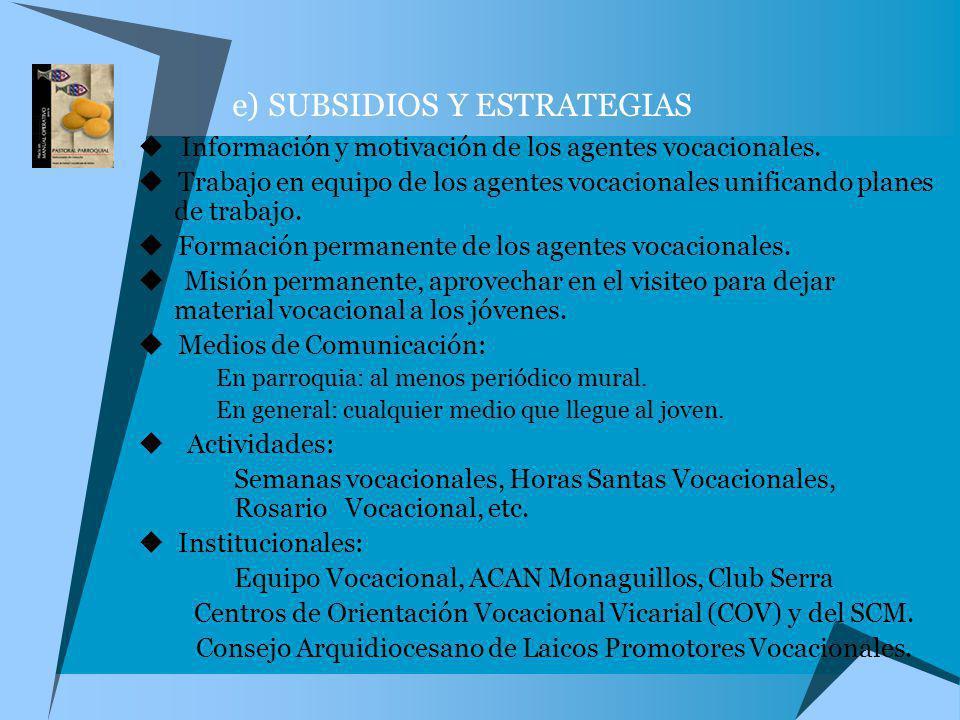 e) SUBSIDIOS Y ESTRATEGIAS Información y motivación de los agentes vocacionales. Trabajo en equipo de los agentes vocacionales unificando planes de tr