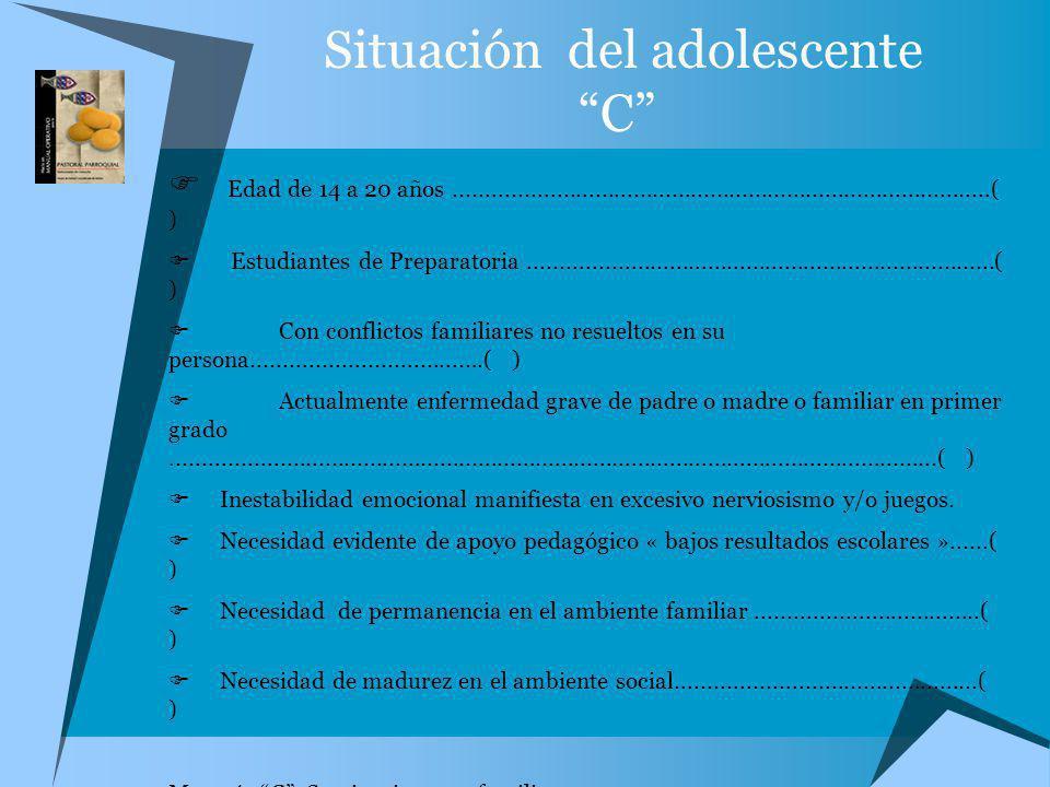 Situación del adolescente C Edad de 14 a 20 años....................................................................................( ) Estudiantes de