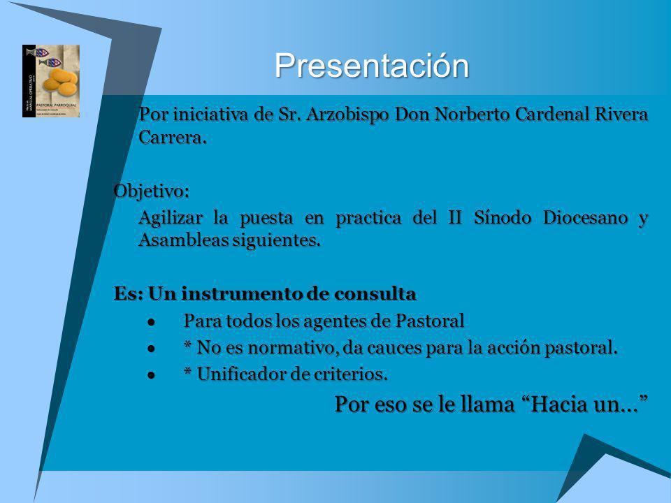 Por iniciativa de Sr. Arzobispo Don Norberto Cardenal Rivera Carrera. Objetivo: Agilizar la puesta en practica del II Sínodo Diocesano y Asambleas sig