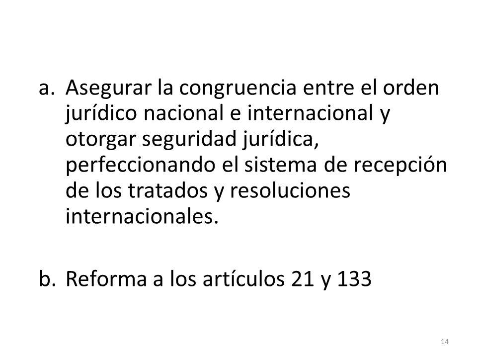 a.Asegurar la congruencia entre el orden jurídico nacional e internacional y otorgar seguridad jurídica, perfeccionando el sistema de recepción de los