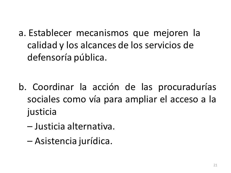 a. Establecer mecanismos que mejoren la calidad y los alcances de los servicios de defensoría pública. b. Coordinar la acción de las procuradurías soc