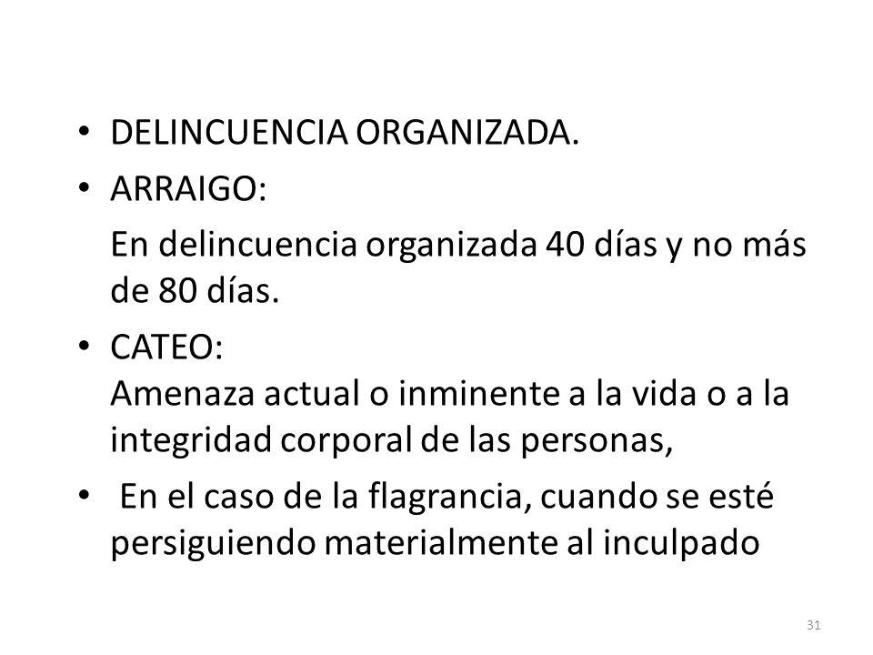 DELINCUENCIA ORGANIZADA. ARRAIGO: En delincuencia organizada 40 días y no más de 80 días.