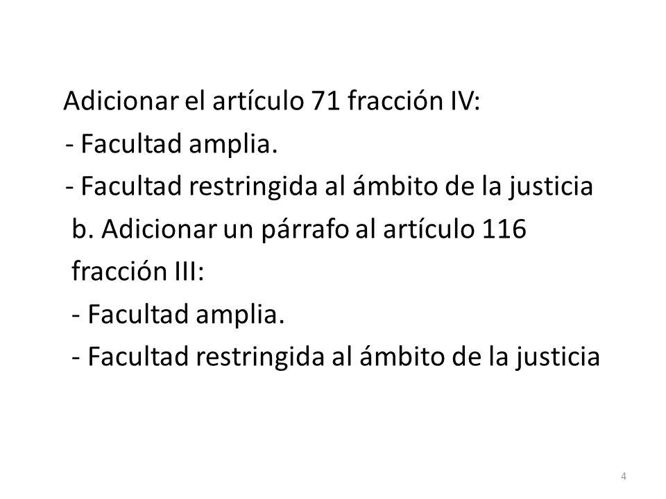 Adicionar el artículo 71 fracción IV: - Facultad amplia. - Facultad restringida al ámbito de la justicia b. Adicionar un párrafo al artículo 116 fracc