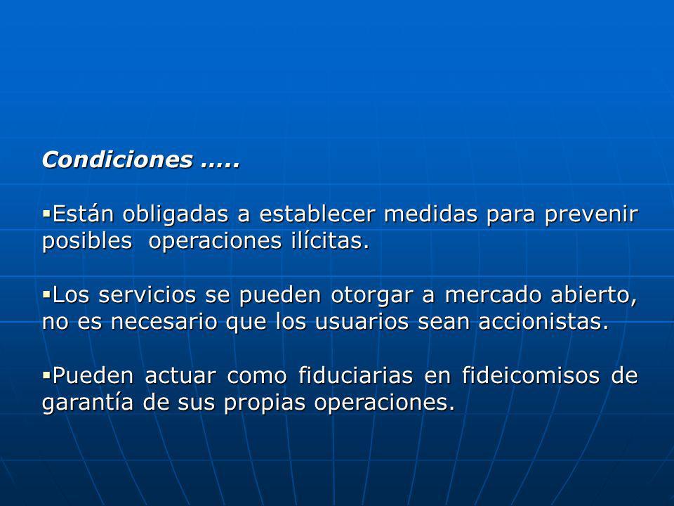 Condiciones ….. Están obligadas a establecer medidas para prevenir posibles operaciones ilícitas. Están obligadas a establecer medidas para prevenir p