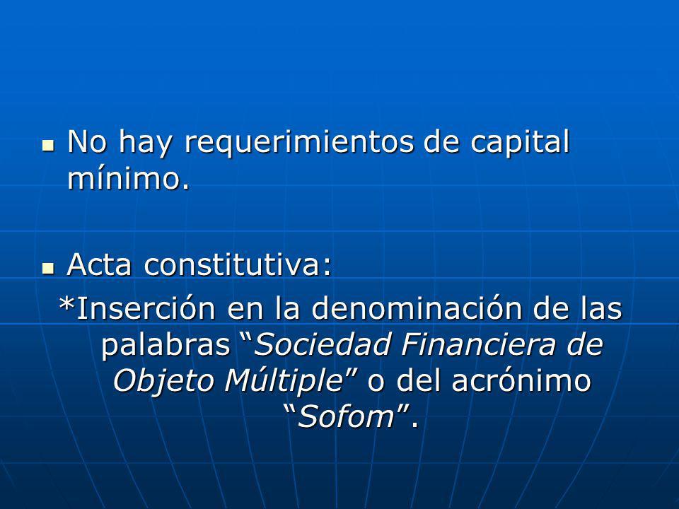 No hay requerimientos de capital mínimo. No hay requerimientos de capital mínimo. Acta constitutiva: Acta constitutiva: *Inserción en la denominación