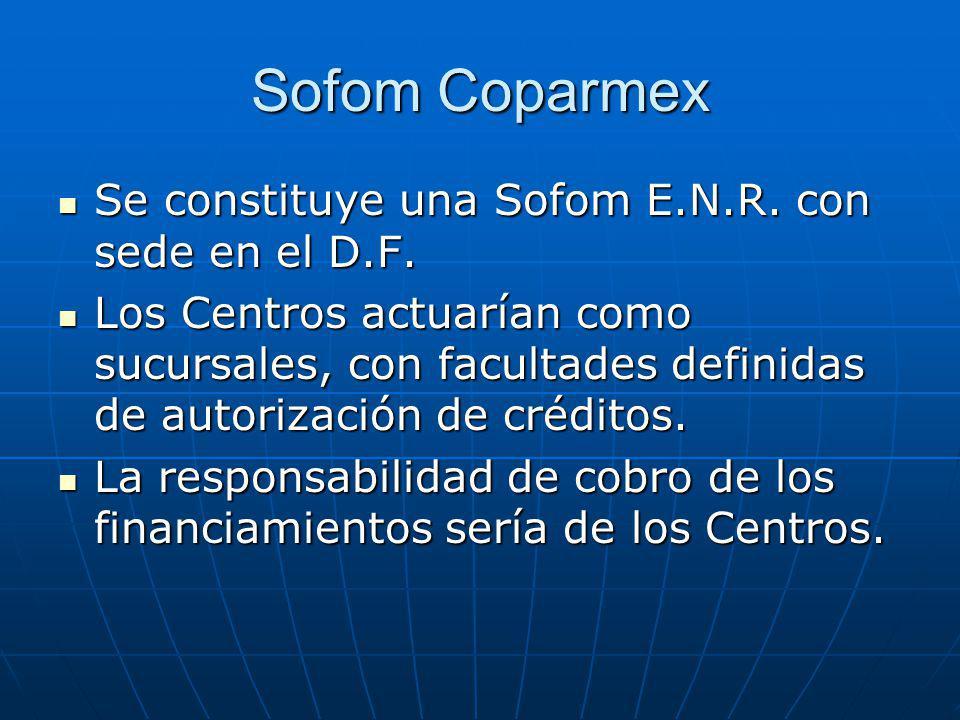 Sofom Coparmex Se constituye una Sofom E.N.R. con sede en el D.F. Se constituye una Sofom E.N.R. con sede en el D.F. Los Centros actuarían como sucurs
