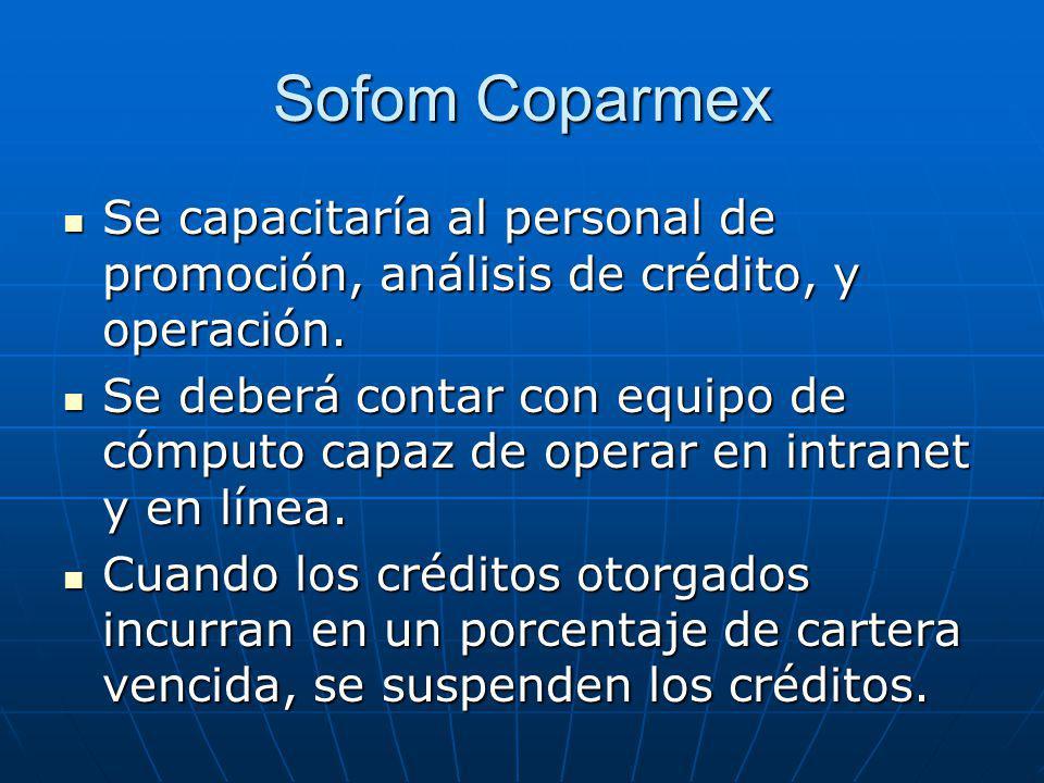 Sofom Coparmex Se capacitaría al personal de promoción, análisis de crédito, y operación. Se capacitaría al personal de promoción, análisis de crédito