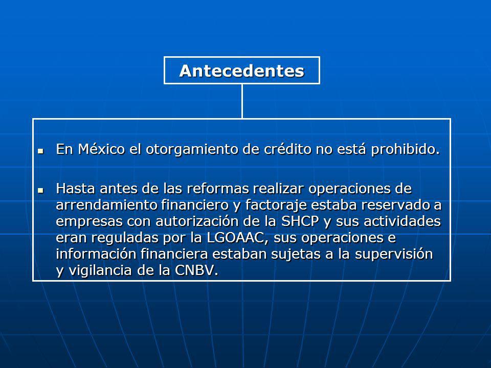 En México el otorgamiento de crédito no está prohibido. En México el otorgamiento de crédito no está prohibido. Hasta antes de las reformas realizar o