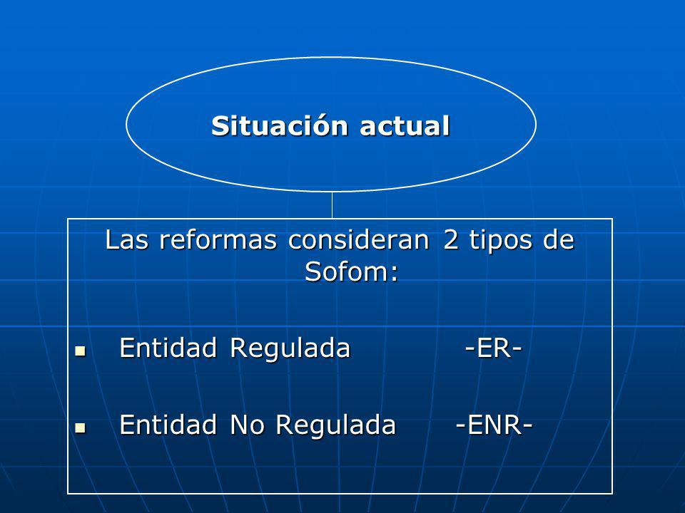 Las reformas consideran 2 tipos de Sofom: Entidad Regulada -ER- Entidad Regulada -ER- Entidad No Regulada -ENR- Entidad No Regulada -ENR- Situación ac