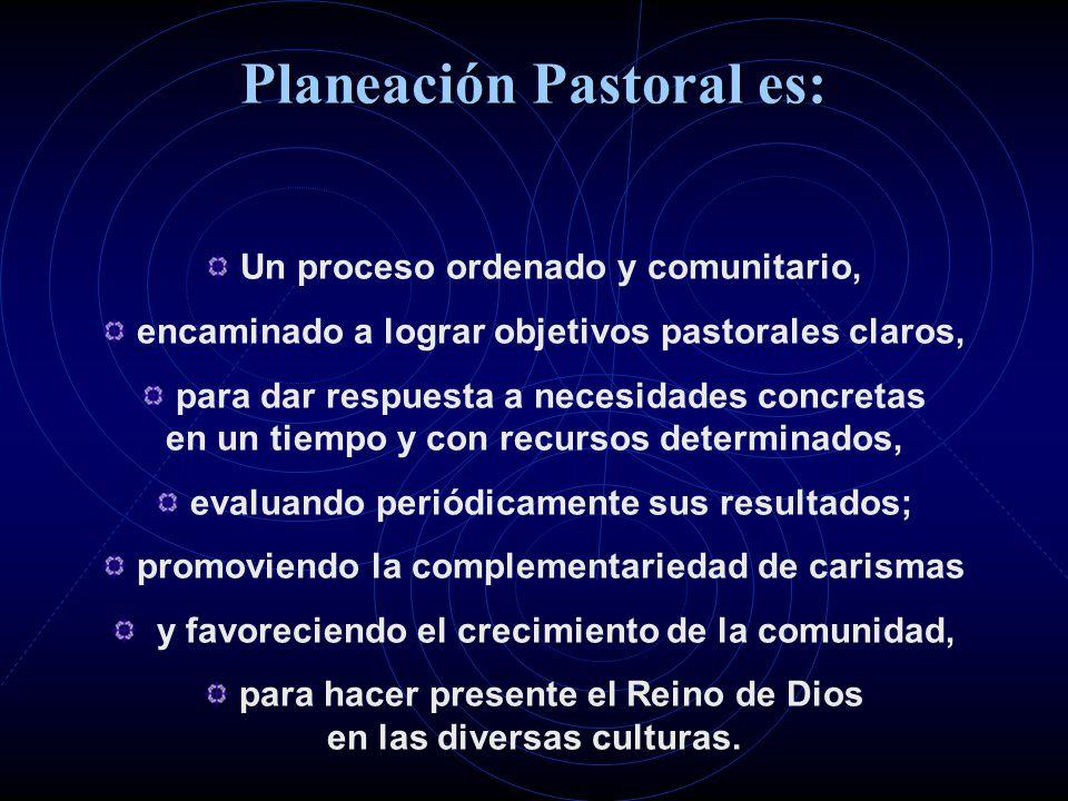 Planeación Pastoral es: Un proceso ordenado y comunitario, encaminado a lograr objetivos pastorales claros, para dar respuesta a necesidades concretas