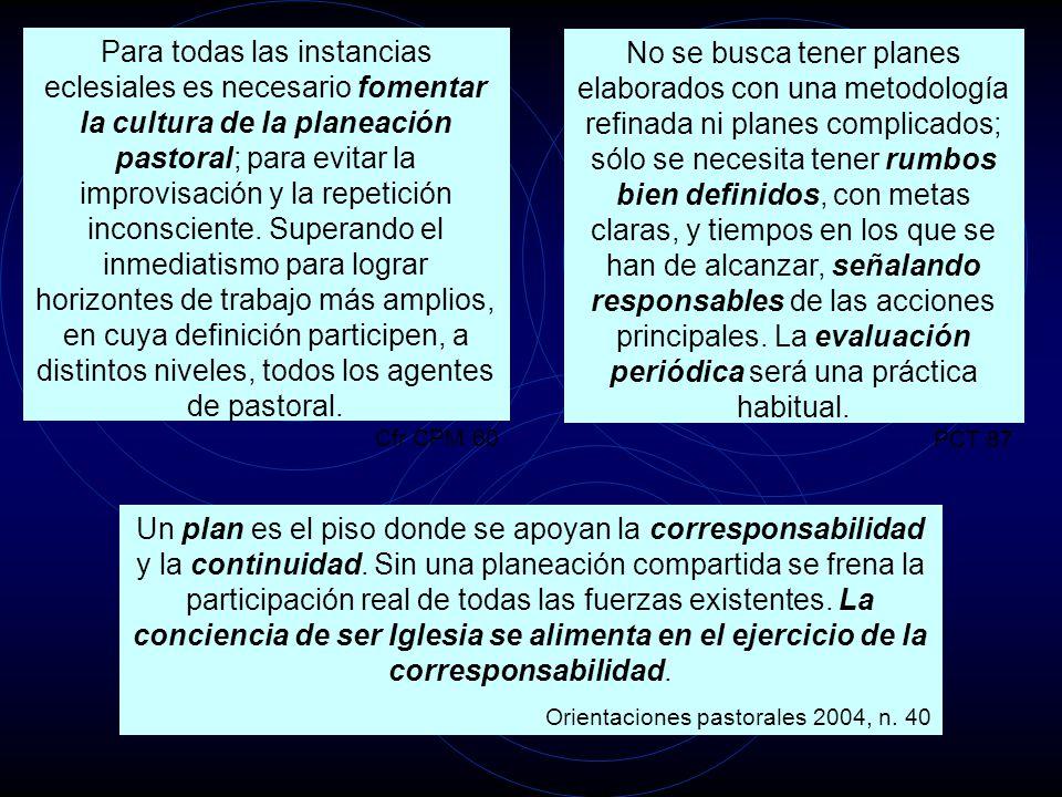 Para todas las instancias eclesiales es necesario fomentar la cultura de la planeación pastoral; para evitar la improvisación y la repetición inconsci
