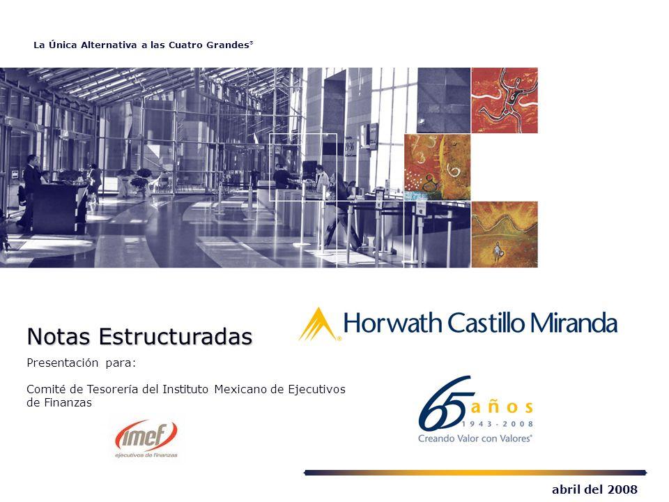 La Única Alternativa a las Cuatro Grandes ® abril del 2008 Notas Estructuradas Notas Estructuradas Presentación para: Comité de Tesorería del Instituto Mexicano de Ejecutivos de Finanzas